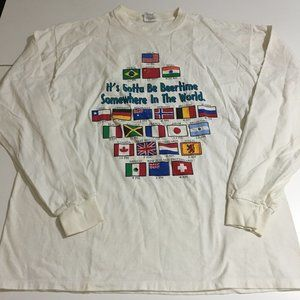 Vtg Beer Time Somewhere In The World XL L/S Shirt